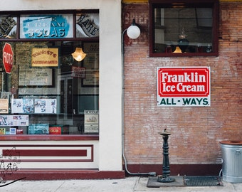 Franklin Fountain Philadelphia Photography, Urban Street Photography, Ice Cream Shop Photography, Old City Photography, Fine Wall Art