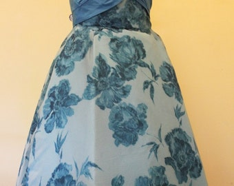 1950's Blue Floral Strapless Party Dress