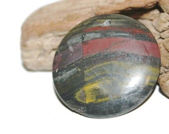 Tiger Iron Pendant Bead, Circular Pendant, Multicolored Gemstone Pendant, Natural Stone Pendant, Tigers Eye and Hematite Focal Bead