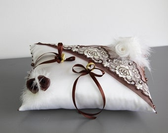 Cushion ring cushions with lace flowers feathers pearls and ribbons