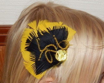 Medusa Yellow and Black Feather Hair Clip