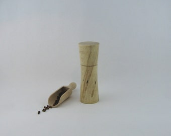 Spices and peppermill grinder in spalted Maple ,Élegant  style with rod mechanisme  6 5/8 in article no: 489
