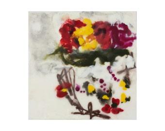 """encaustic art - encaustic still life painting """"Ginger"""" - still life roses - abstract art"""