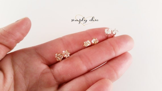 Herkimer Diamond Claw Stud Earrings Gold Sterling Silver Rose