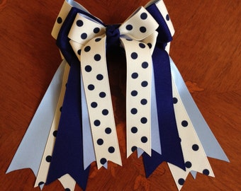 Horse Show Hair Bows/Equestrian clothing/Navy & Creme - Dots  Times Two