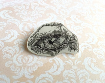 Hand Drawn Eye, Shrink Plastic Brooch, One of a Kind Brooch - Ready to Ship