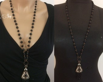 Necklace, long necklace, onyx necklace, charm necklace ,