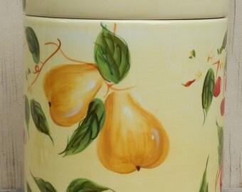Large Ceramic Cookie Jar with Fruit Motif!