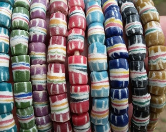 African recycled glass beads, 1 strand, 20/22 powder glass beads (7/8 mm.diam), 10 colors