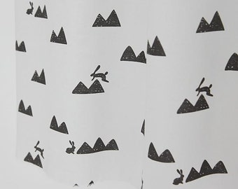 Mountain and Rabbits Cotton Fabric Gray (82864) by Yard