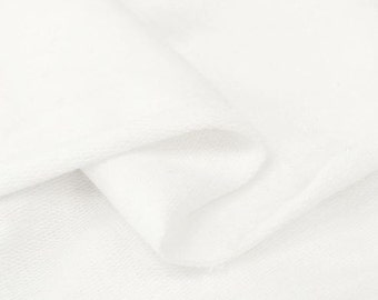 Solid French Baby Terry Knit Fabric by Yard, Width 95cm (37 Inch) - White Ivory