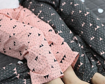 Triangle Pattern Cotton Fabric by Yard - 2 Colors Selection