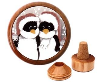Penguin wine stopper. Unique Penguin gift. Christmas Gift for Penguin lovers. Penguin ornament. Penguin print. Penguin art.
