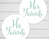 His Favorite Her Favorite Wedding Stickers, Favorites Wedding Favor Stickers, Wedding Favor Bag Sticker (#376)