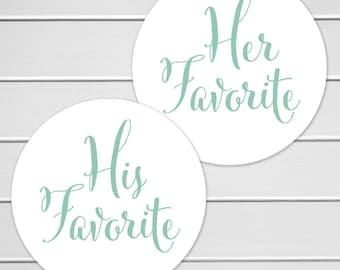 His Favorite Her Favorite Wedding Stickers, Favorites Wedding Favor Stickers, Wedding Favor Bag Sticker (#376)