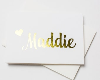 Foiled Name Note Cards 6pk, Personalized Folded Foiled Cards, Choose your Foil Color, Printed Cards with Envelopes (NC-F015-F)