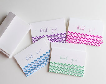 Thank You Note Cards, Folded Note Cards, Gifts under 15, Printed with Envelopes (TY2)