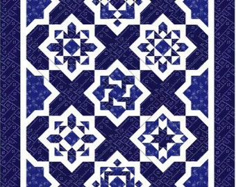 Quilt Pattern/ Blue and White quilt/ Blue Tiles - size: 59 inches x 81 inches