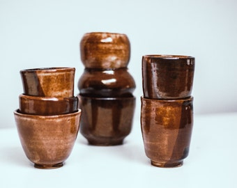 Handmade Ceramic Cup Set of 8 - Brown and Beige