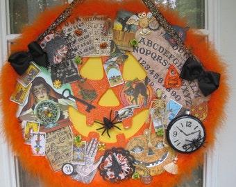 Halloween Pumpkin Collage Wall Hanging.