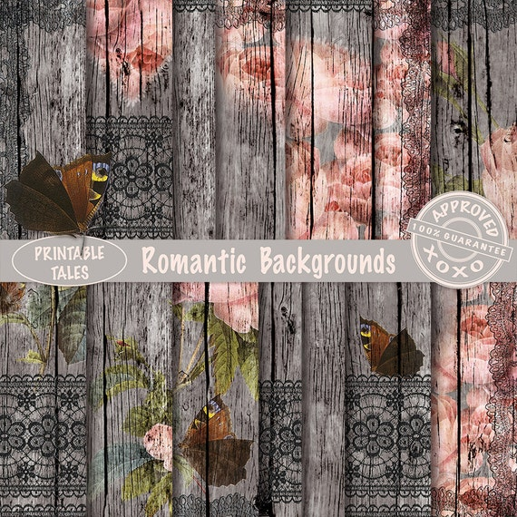 Shabby Chic Wood Background Floral And Lace By Printabletales
