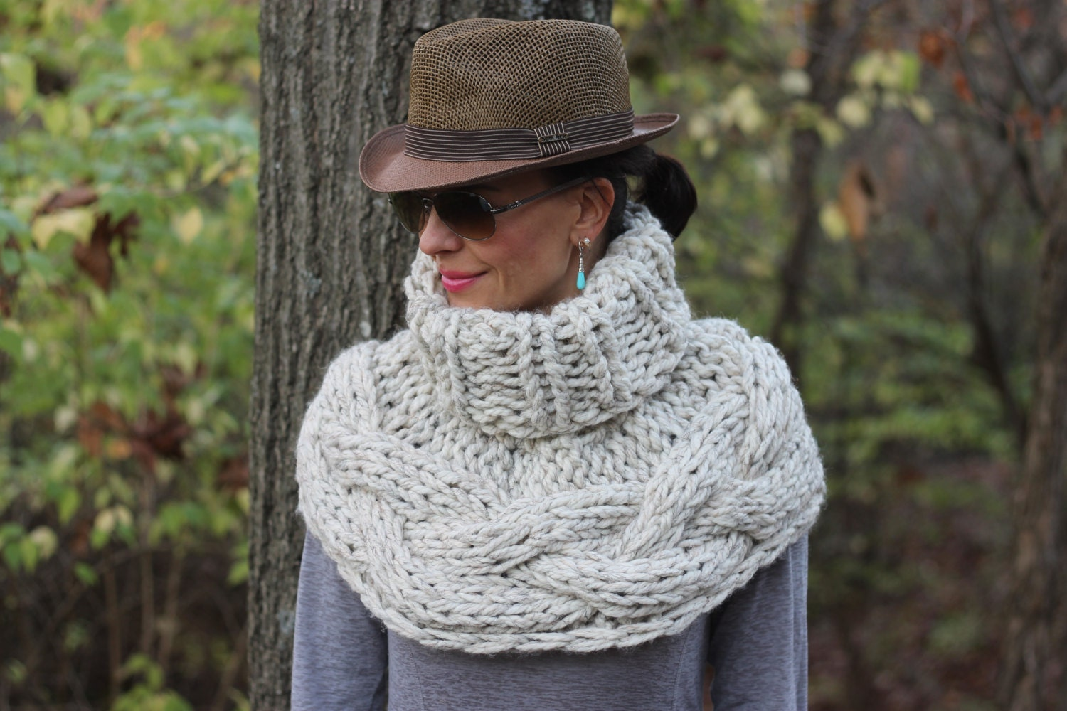 Hand Knit Outlander and Katniss Cable Cowl Cape by KnitPlayLove