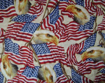 Flags & Eagles Cotton Fabric Sold by the Yard