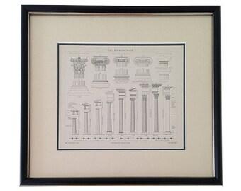 Framed Antique Greek Columns Engraving, 1887