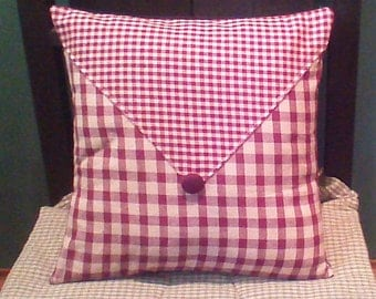 "Country Primitive Pillow Cover with envelope flap and covered button 12"" x 12"" Burgundy"