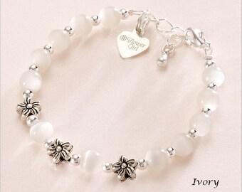 Flower Girl Bracelet with Stg Silver Flower Girl Charm.