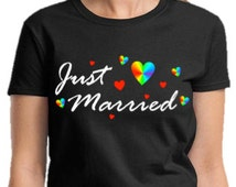 LESBIAN SHIRT Just Married Gay Pride Gift Black Lgbt Shirt Gay Marriage Gift Same-Sex Marriage Wedding Gift Unisex All Gay Tees