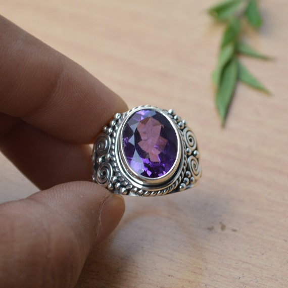 Amethyst Ring, Purple Gemstone Ring, Natural Amethyst Ring Size 10, Gemstone Ring, 925 Sterling Silver Ring, February Birthstone Ring