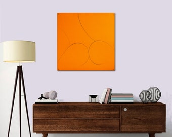 "Figuratif Painting Original Painting  Orange Contemporary Abstract Painting Silhouette  ""Naked"" 19,7X19,7inches"