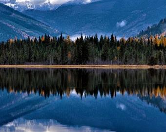 lake reflection nature landscape photography print, wall decor