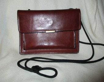 Vintage burgundy leather wallet/cross body