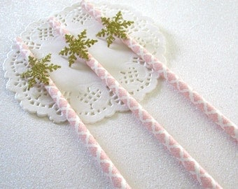 12 Winter Onederland Straws Snowflake Straws Winter Wonderland Girl First Birthday Pink Gold Party Baby It's Cold Outside Winter Wedding