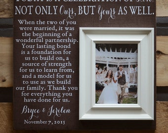 PARENTS THANK YOU Wedding Frame, Today Is A Celebration Of Love, Parents Gift, Thank you Gift, Parents of the bride Personalized Frame 16x16