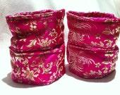 Beginner Bondage Kit - Brocade Wrist & Ankle Restraint Set, Collar and Blindfold Pink Floral Print
