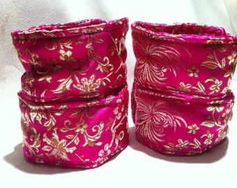 Beginner Bondage Kit - Brocade Wrist & Ankle Restraint Set Pink Floral Print