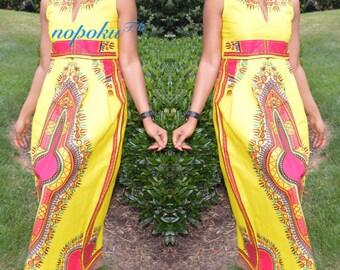 African Print Dress,Dashiki Maxi Dress, Long dress,Kitenge Dress, Yellow Angelina Dress,sleeveless dress,Party Dress,Geometric Print dresses