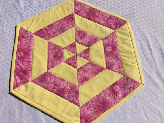Floral centerpiece quilted table topper pink and yellow spring