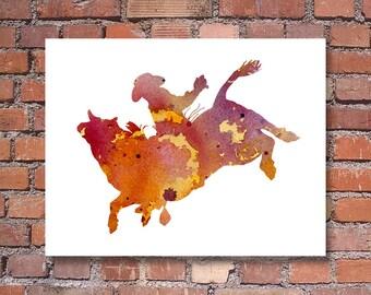 Bull Rider Art Print - Abstract Watercolor Painting - Wall Decor