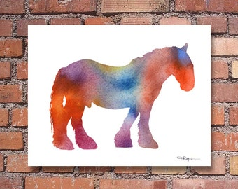Shire Horse Art Print - Abstract Watercolor Painting - Animal Art - Wall Decor