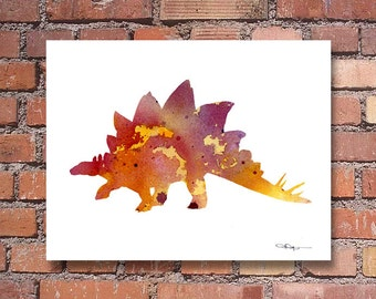 Stegosaurus Art Print - Abstract Watercolor Painting - Dinosaur Wall Decor