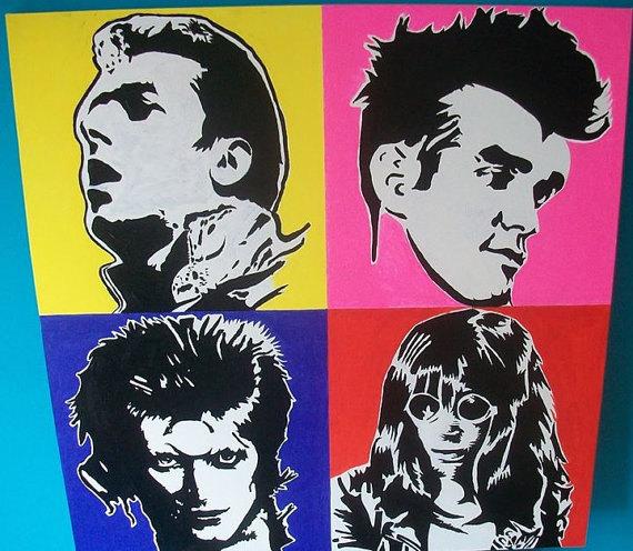hand painted alternative punk rock pop art wall canvas of ...