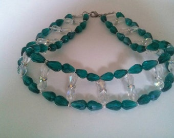 Green and crystal collar with Swarovski highlights!