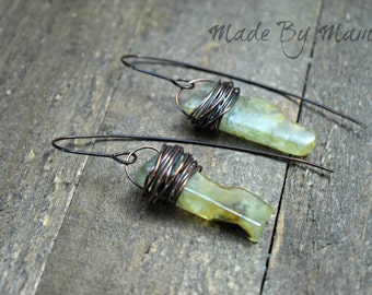 Rustic Gemstone Stick Earrings, Prehnite Green Earrings, Oxidized Copper, Bohemian Jewelry, Boho, Gypsy, Handmade, Artisan, Organic, Earthy