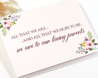 Customizable Card for Your Mother and Father or Parents On Your Wedding Day