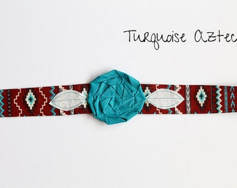 Turquoise Aztec - Fabric Flower Headband