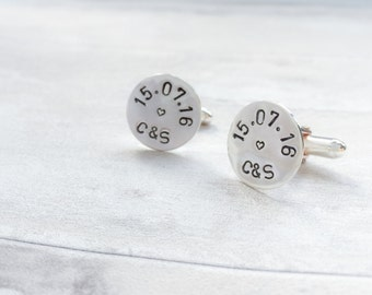 Personalised Wedding Date Cufflinks in Sterling Silver